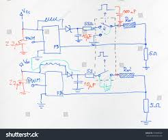 electrical scheme hand drawn blue red stock photo 196008929