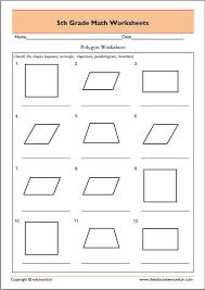 5th grade geometry math worksheets polygons edumonitor