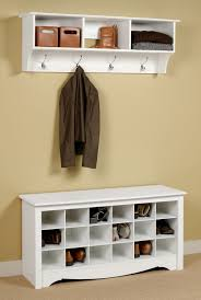 picture of prepac entryway shoe storage bench u0026 wall shelf set