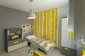 chambre gris et jaune design interieur chambre enfant grise jaune déco murale bouleaux