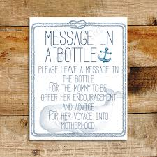 nautical baby shower message in a bottle sign baby shower