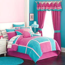 girls pink bedroom ideas pink ruffled curtain and turquoise accent wall for modern girl s