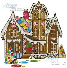 artecy cross stitch gingerbread house cross stitch pattern to