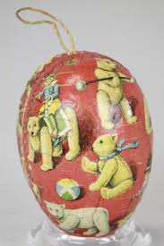 German Easter Tree Decorations by Rare Large Antique Paper Mache Easter Egg Candy Container