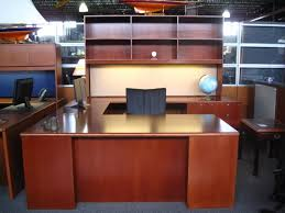 Tuohy Reception Desk with U Shaped Tuohy Executive Desk Refinished In Cognac Cherry In