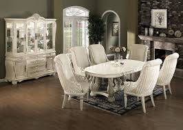 Genuine Marble Top Ivory White Classic 7pc Dining Set W Options