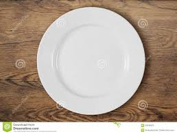 Wooden Table Top View White Dinner Plate On Wooden Table Top View Stock Photo Image