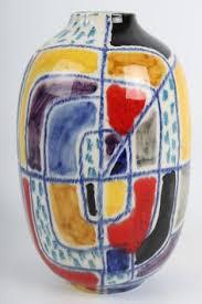 Fantoni Vase Vintage Italian Pottery Floral Hand Painted Numbered Vase