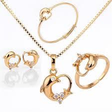 ring bracelet necklace images Dolphin design gold necklace earring ring bracelet gold jewelry jpg