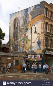dh city centre leeds west yorkshire building wall art mural corn stock photo dh city centre leeds west yorkshire building wall art mural corn exchange bus stance call lane stop
