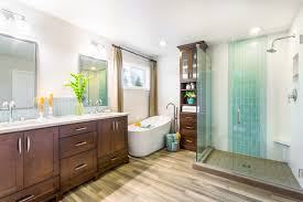 inspirational small bathroom with spa nuance with wooden floor and