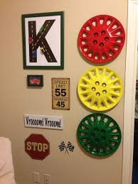 Race Car Room Using Hubcaps To Mimic A Stop Light So Cool - Boys car bedroom ideas