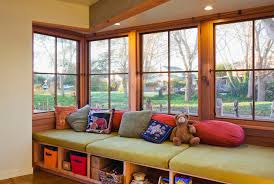 modern storage bench hall contemporary with bay window window seat