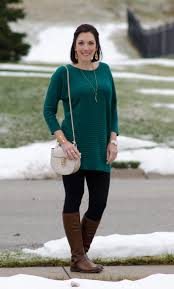 how to wear brown boots with black pants and dresses tunic