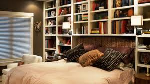 bookshelf headboard storage smart ideas for small bedrooms youtube
