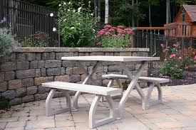 Wooden Picnic Tables With Separate Benches Classic Table Picnic Table With Detached Benches