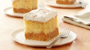 pumpkin layered magic cake recipe bettycrocker com