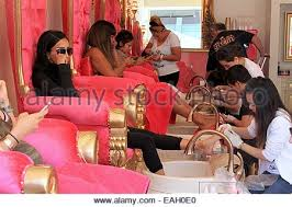 lilly ghalichi visits a nail salon in beverly hills featuring