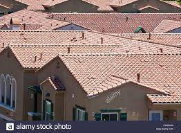 Cement Tile Roof Cement Tile Roofs In Suburban Apartment Development In Southern