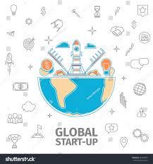 line art global startup concept flat stock vector 424728247
