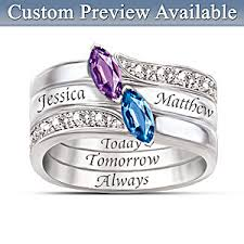 stackable birthstone rings engraved personalized birthstone couples ring together as one