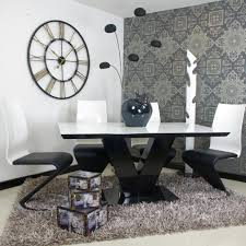 White Gloss Dining Tables And Chairs White And Black Dining Table
