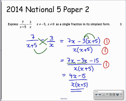 Addition And Subtraction Algebra Worksheets National 5 Algebraic Fractions 6 Exam Type Questions Youtube