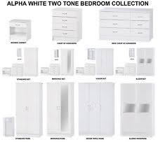 Bedroom Furniture White Gloss Alpha White High Gloss Two Tone Modern Bedroom Furniture Units
