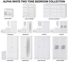 Bedroom Furniture White Gloss Alpha White High Gloss Two Tone Modern Bedroom Furniture Units