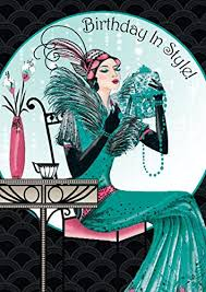 art deco lady birthday in style birthday card ebay