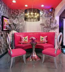 pink decor with silver dining chair dining room contemporary
