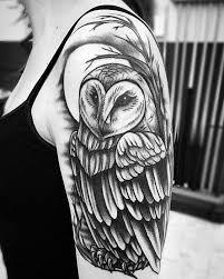 black shoulder tattoo animals arm owl shoulder tattoo slave to the needle