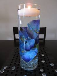 Candle Centerpiece Wedding Blue Purple Orchid Floating Candle Wedding Centerpiece