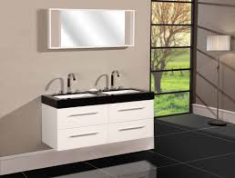 white wooden bathroom vanity having double rectangle sink and