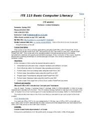 ite 115 basic computer literacy test assessment microsoft excel