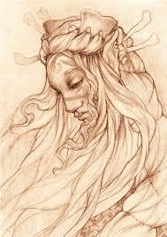 pencil drawing portrait of an elf queen u2014 stock photo