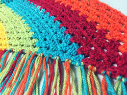 crochet scarf with fringe using caron cake yarn