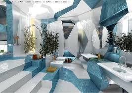 futuristic homes interior interior stepped bathroom design blue white cubism in