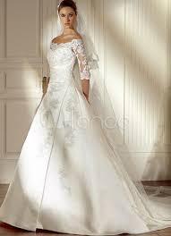 robe de mari e satin blanc cassé l épaule en dentelle satin a ligne de robe de mariage