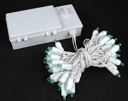 50 led battery operated lights green on white wire