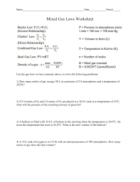 mixed gas laws worksheet