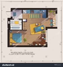 Color Floor Plan Architectural Color Floor Planstudio Apartment One Stock Vector