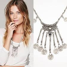 silver boho necklace images Boho vintage ethnic black stone pendant necklace coin bib choker jpg