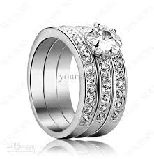 crystal pave rings images Yoursfs jewelry three in one halo rings 18k rose gold plated pave jpg