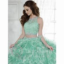 two pieces quinceanera dresses mint green organza ruffle skirt