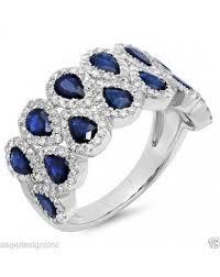 diamond cocktail rings 3 74 ct 14k white gold pear cut blue sapphire diamond