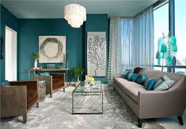Color Ideas For Living Room Neutral Sofa Color With Teal Wall Color And White Sheer Curtain