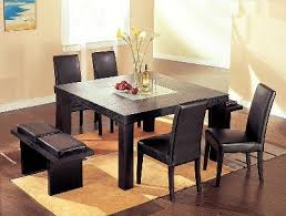 global furniture dining table contemporary wenge wood middle frosted glass dining table set