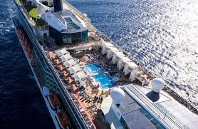 2 celebrity solstice cruise liner pool deck chairs solar panels