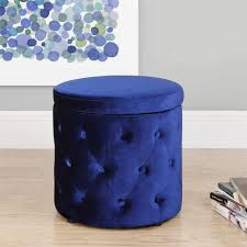 Navy Blue Storage Ottoman Sofa Storage Stool Ottoman Coffee Table Tufted Leather